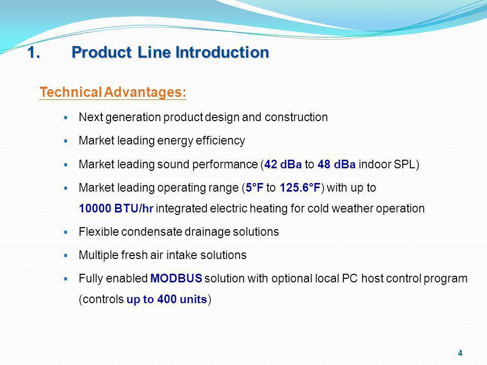 1. Product Line Introduction Technical Advantages: Next generation product design and construction Market leading energy efficiency Market leading sou