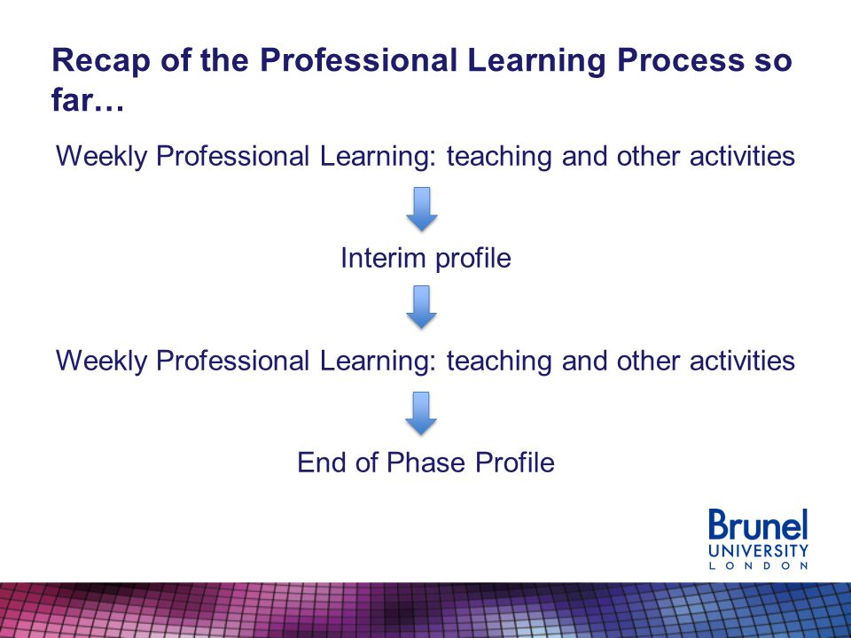Recap of the Professional Learning Process so far… Weekly Professional Learning: teaching and other activities Interim profile Weekly Professional Learning: teaching and other activities End of Phase Profile