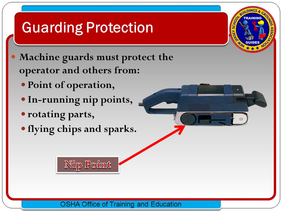 Click to edit Master text styles – Second level Third level – Fourth level » Fifth level OSHA Office of Training and Education Radial Saw Guarding POINT OF OPERATION Lower Guard Upper Guard