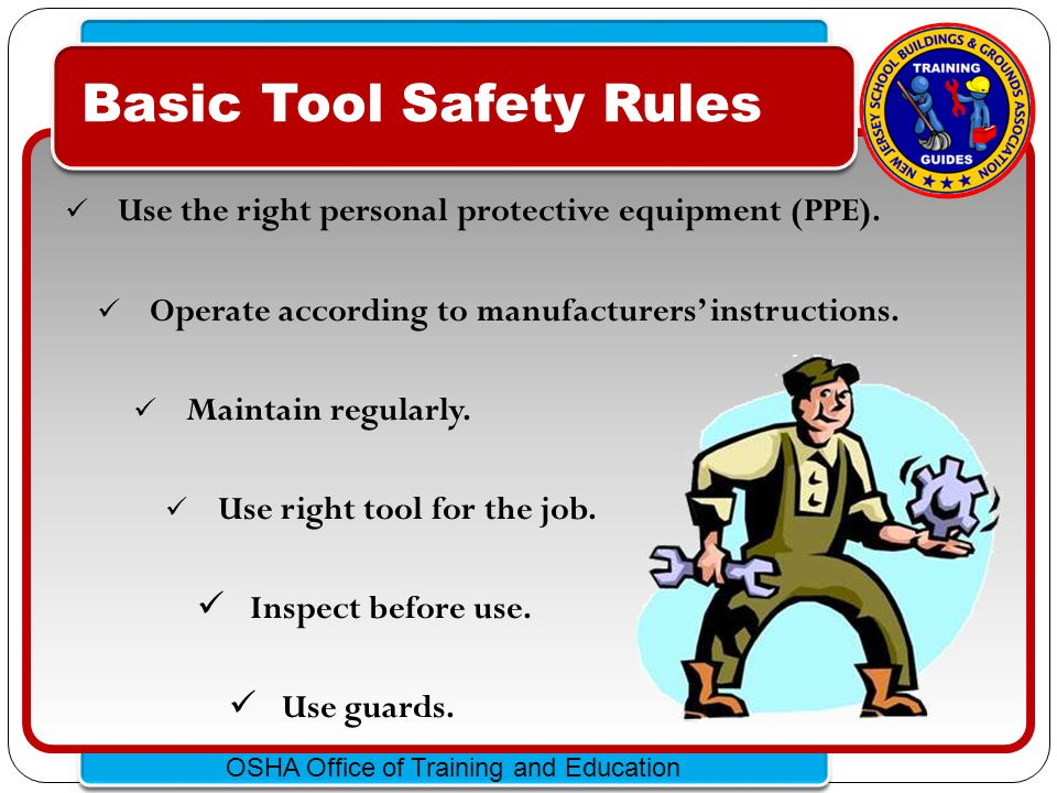 Click to edit Master text styles – Second level Third level – Fourth level » Fifth level OSHA Office of Training and Education Hand Tool Hazards Hazards are usually caused by misuse & improper maintenance.