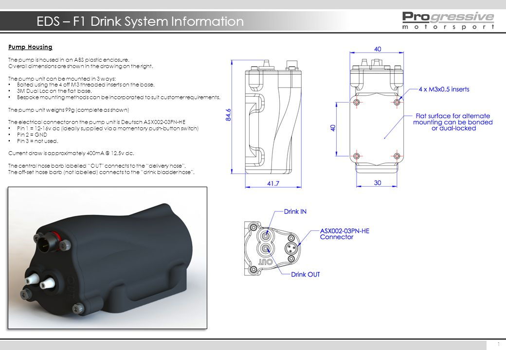 EDS – F1 Drink System Information 1 Pump Housing The pump is housed in an ABS plastic enclosure. Overall dimensions are shown in the drawing on the ri
