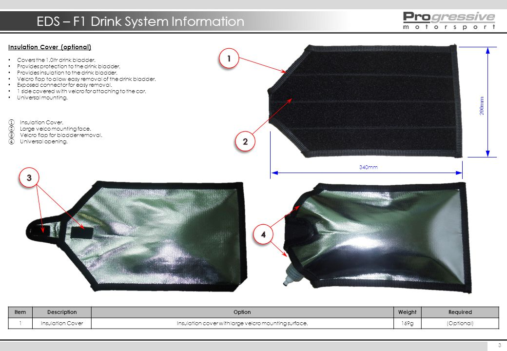 EDS – F1 Drink System Information 4 ItemDescriptionOptionWeightRequired 1a Connector (F) In-Line6gStandard 1b Connector (F) Bulkhead/Panel Mount (13mm Hole Required) 9g (Optional ) 2aHoseStandard Hose (OD=1/4, ID = 1/8)28g/mStandard 2bHoseSmaller OD Hose (OD=3/16, ID = 1/8)13g/m (Optional ) 3InsulationFoam Hose Insulation (OD = 18mm)11g/mStandard 4NRVNon-return valve with cover (no options)3gStandard 5aHoseStandard Hose (OD=1/4, ID = 1/8)28g/mStandard 5bHoseSmaller OD Hose (OD=3/16, ID = 1/8)13g/m (Optional ) 6InsulationFoam Hose Insulation (OD = 18mm)11g/mStandard Delivery Hose Parts & Options (Pump to Helmet Connector) Below highlights the options available for the delivery hose.