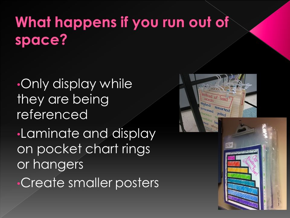 Only display while they are being referenced Laminate and display on pocket chart rings or hangers Create smaller posters