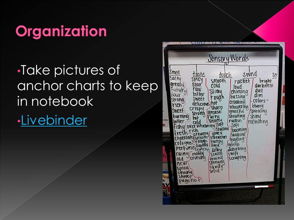 Take pictures of anchor charts to keep in notebook Livebinder
