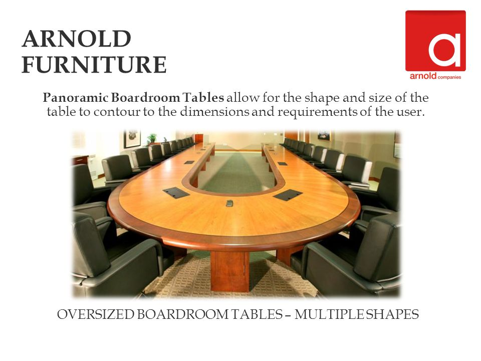 OVERSIZED BOARDROOM TABLES – MULTIPLE SHAPES Panoramic Boardroom Tables allow for the shape and size of the table to contour to the dimensions and req