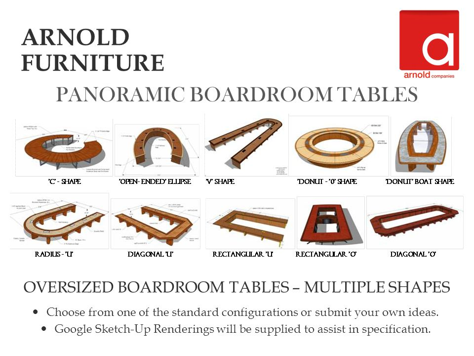 PANORAMIC BOARDROOM TABLES OVERSIZED BOARDROOM TABLES – MULTIPLE SHAPES Choose from one of the standard configurations or submit your own ideas.