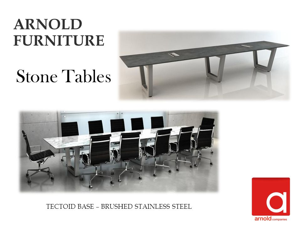 TECTOID BASE – BRUSHED STAINLESS STEEL Stone Tables ARNOLD FURNITURE
