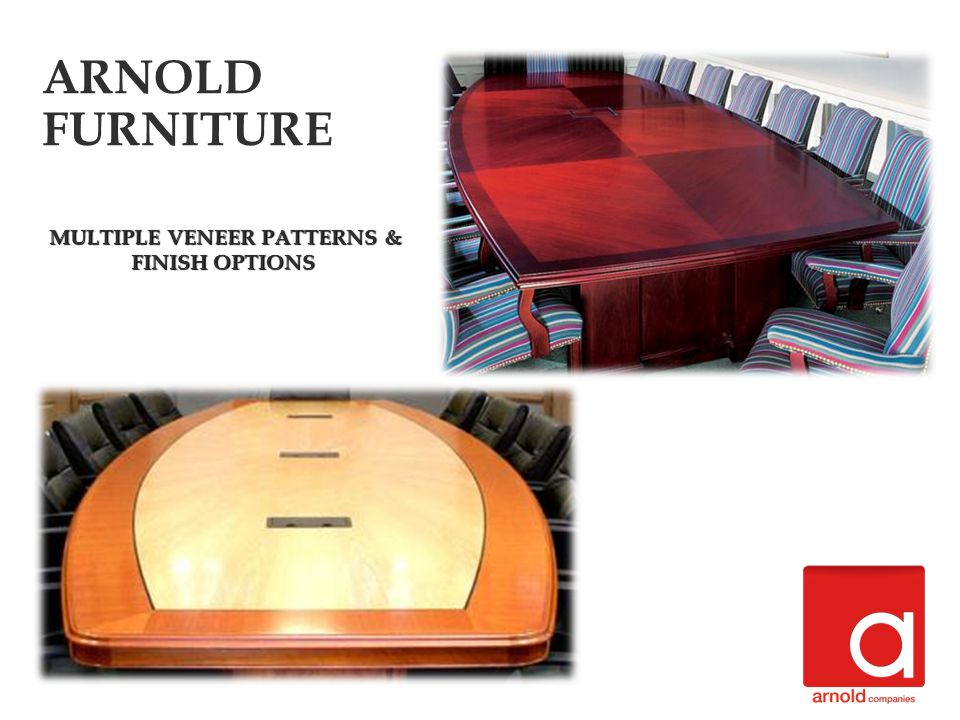 MULTIPLE VENEER PATTERNS & FINISH OPTIONS MULTIPLE VENEER PATTERNS & FINISH OPTIONS ARNOLD FURNITURE