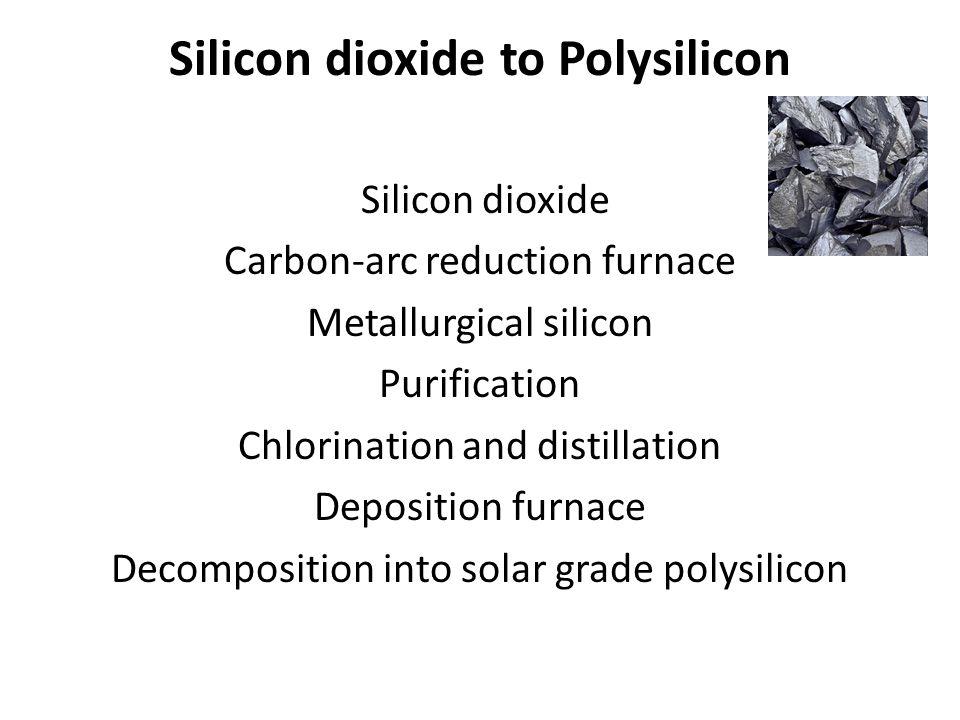 Silicon dioxide to Polysilicon Silicon dioxide Carbon-arc reduction furnace Metallurgical silicon Purification Chlorination and distillation Depositio
