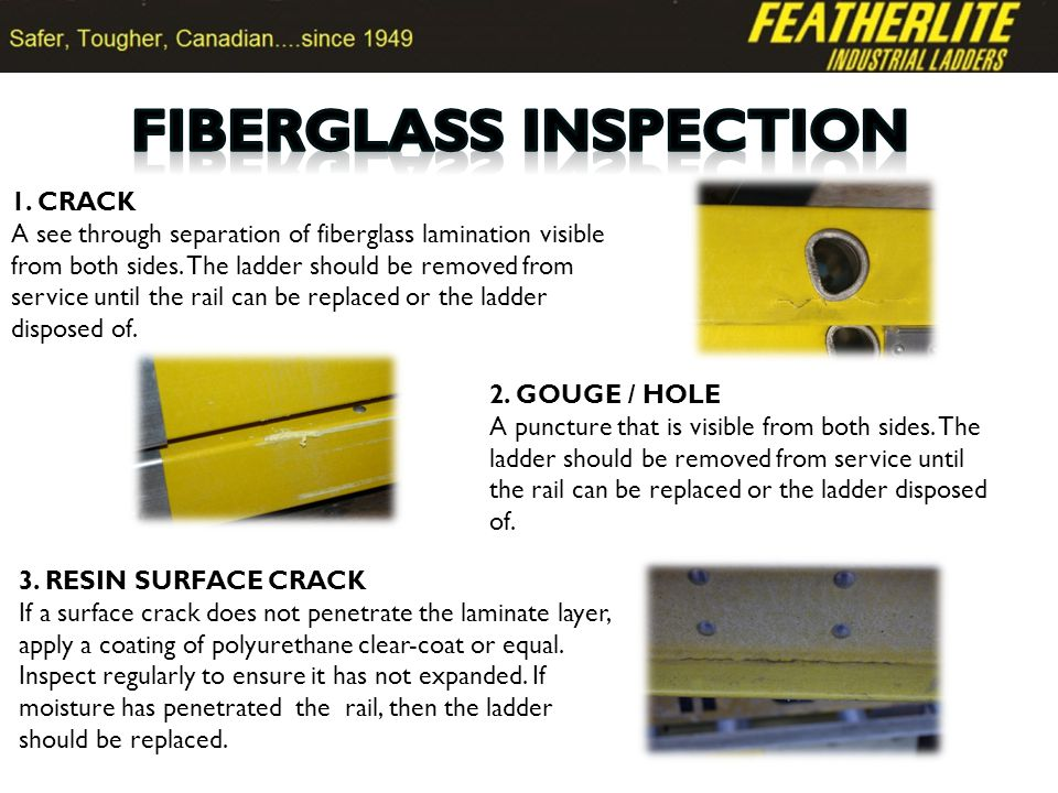 1. CRACK A see through separation of fiberglass lamination visible from both sides.