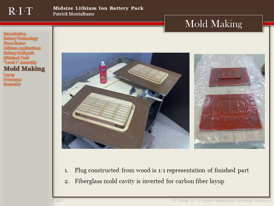Midsize Lithium Ion Battery Pack Patrick Montalbano © 2012 RIT Winter 11-12 Student Research and Innovation Symposium Mold Making 1.Plug constructed from wood is 1:1 representation of finished part 2.Fiberglass mold cavity is inverted for carbon fiber layup