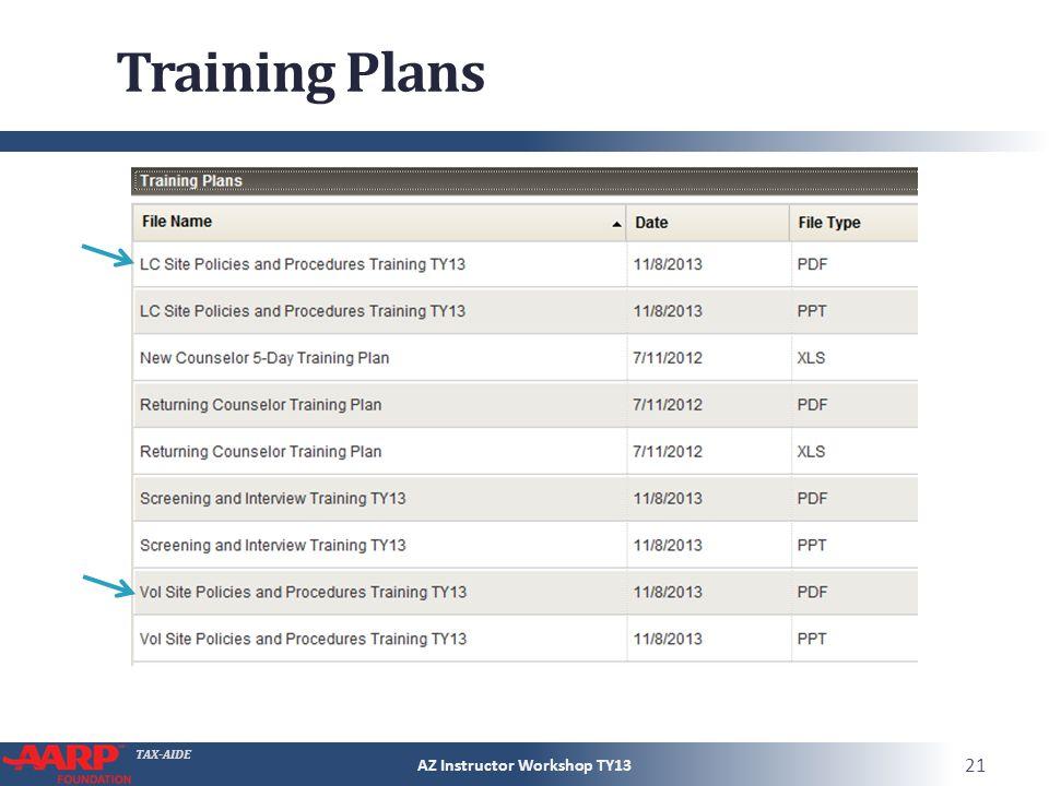 TAX-AIDE Training Plans AZ Instructor Workshop TY13 21