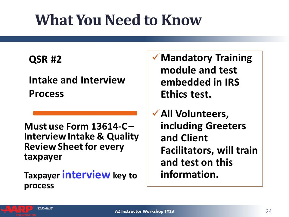 TAX-AIDE What You Need to Know QSR #2 Intake and Interview Process Mandatory Training module and test embedded in IRS Ethics test.