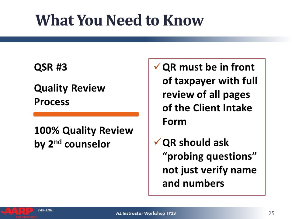 TAX-AIDE What You Need to Know QSR #3 Quality Review Process QR must be in front of taxpayer with full review of all pages of the Client Intake Form QR should ask probing questions not just verify name and numbers AZ Instructor Workshop TY13 25 100% Quality Review by 2 nd counselor