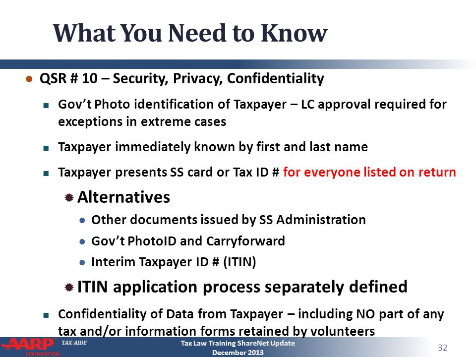 TAX-AIDE What You Need to Know QSR # 10 – Security, Privacy, Confidentiality Govt Photo identification of Taxpayer – LC approval required for exceptions in extreme cases Taxpayer immediately known by first and last name Taxpayer presents SS card or Tax ID # for everyone listed on return Alternatives Other documents issued by SS Administration Govt PhotoID and Carryforward Interim Taxpayer ID # (ITIN) ITIN application process separately defined Confidentiality of Data from Taxpayer – including NO part of any tax and/or information forms retained by volunteers 32 Tax Law Training ShareNet Update December 2013