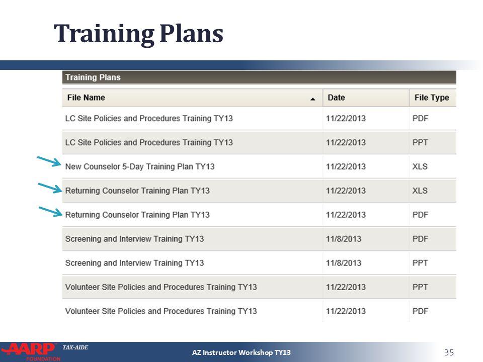 TAX-AIDE Training Plans AZ Instructor Workshop TY13 35