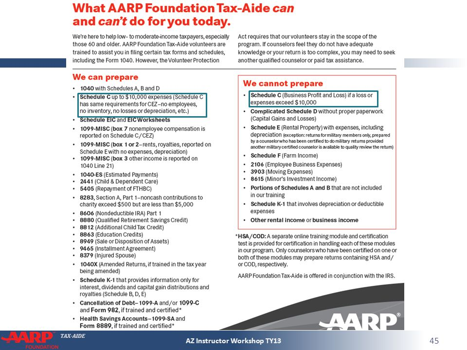 TAX-AIDE AZ Instructor Workshop TY13 45