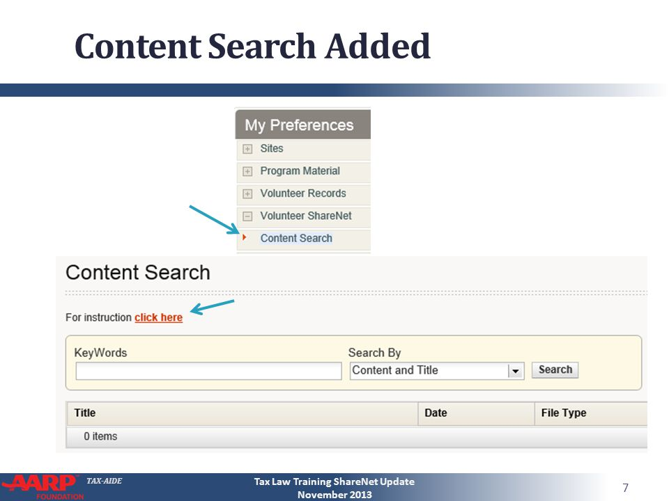 TAX-AIDE Content Search Added Tax Law Training ShareNet Update November 2013 7