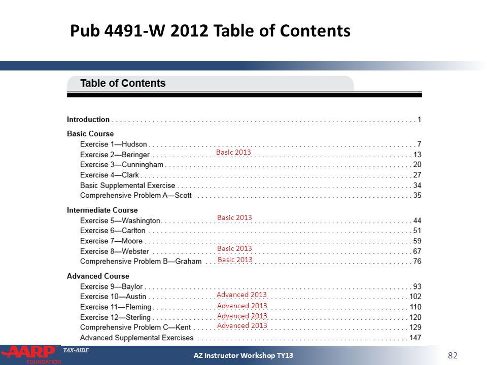 TAX-AIDE Basic 2013 Advanced 2013 Basic 2013 Pub 4491-W 2012 Table of Contents Advanced 2013 AZ Instructor Workshop TY13 82