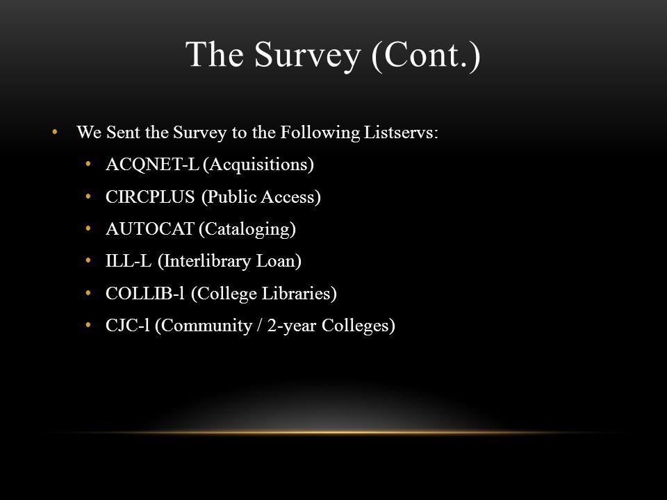 The Survey (Cont.) We Sent the Survey to the Following Listservs: ACQNET-L (Acquisitions) CIRCPLUS (Public Access) AUTOCAT (Cataloging) ILL-L (Interlibrary Loan) COLLIB-l (College Libraries) CJC-l (Community / 2-year Colleges)