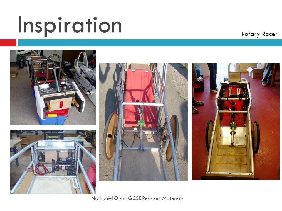 Inspiration Nathaniel Olson GCSE Resistant Materials Rotary Racer