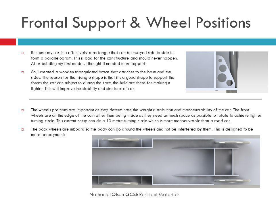 Frontal Support & Wheel Positions Nathaniel Olson GCSE Resistant Materials Because my car is a effectively a rectangle that can be swayed side to side to form a parallelogram.