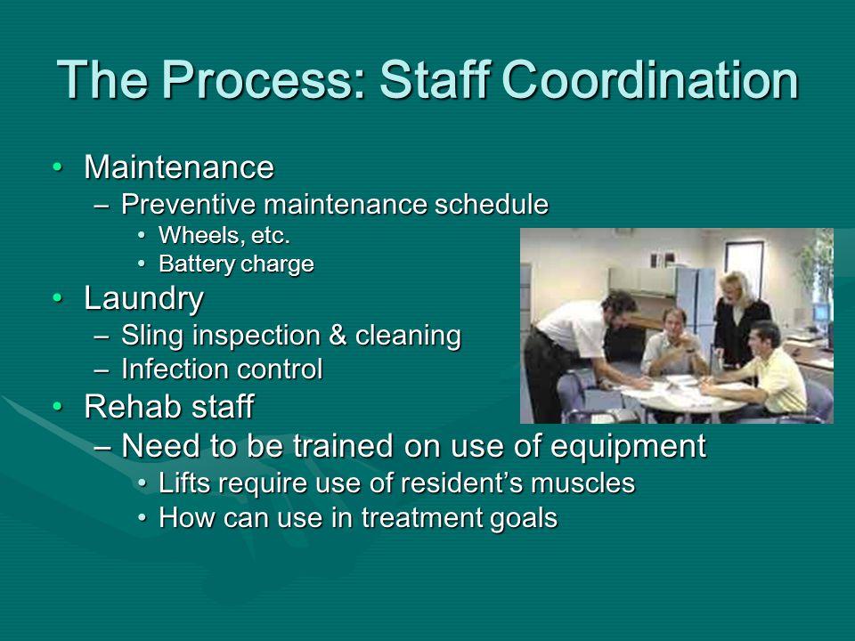The Process: Staff Coordination MaintenanceMaintenance –Preventive maintenance schedule Wheels, etc.Wheels, etc.