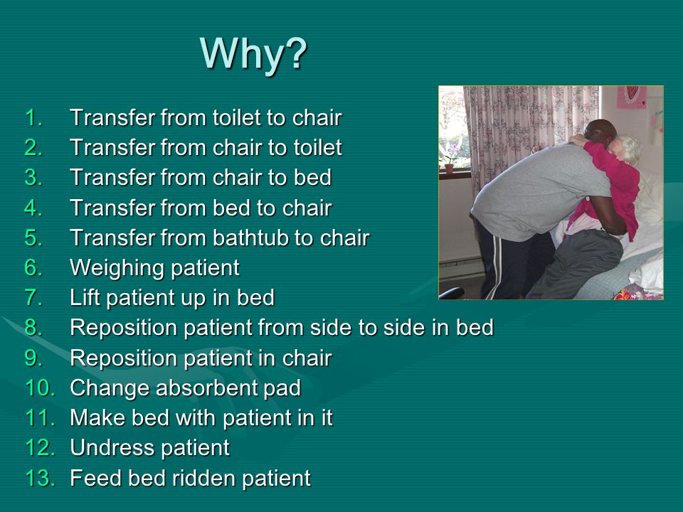 Why? 1.Transfer from toilet to chair 2.Transfer from chair to toilet 3.Transfer from chair to bed 4.Transfer from bed to chair 5.Transfer from bathtub