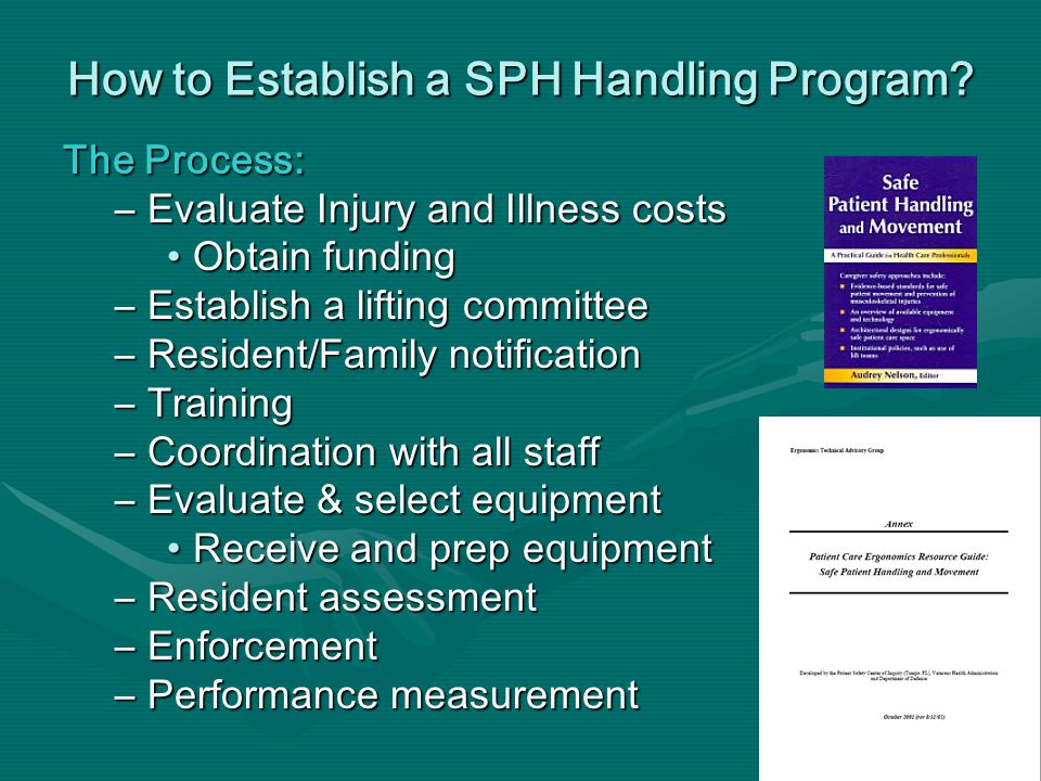 The Process: –Evaluate Injury and Illness costs Obtain fundingObtain funding –Establish a lifting committee –Resident/Family notification –Training –Coordination with all staff –Evaluate & select equipment Receive and prep equipmentReceive and prep equipment –Resident assessment –Enforcement –Performance measurement How to Establish a SPH Handling Program