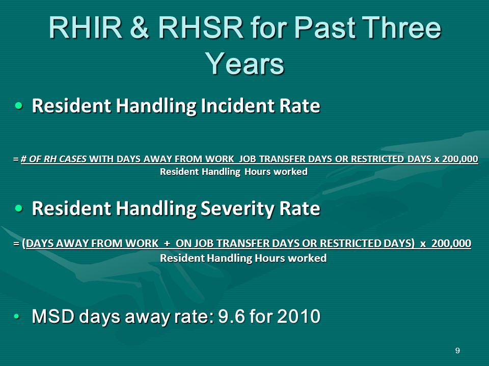 RHIR & RHSR for Past Three Years Resident Handling Incident RateResident Handling Incident Rate = # OF RH CASES WITH DAYS AWAY FROM WORK JOB TRANSFER DAYS OR RESTRICTED DAYS x 200,000 Resident Handling Hours worked Resident Handling Severity RateResident Handling Severity Rate = (DAYS AWAY FROM WORK + ON JOB TRANSFER DAYS OR RESTRICTED DAYS) x 200,000 Resident Handling Hours worked MSD days away rate: 9.6 for 2010MSD days away rate: 9.6 for 2010 9