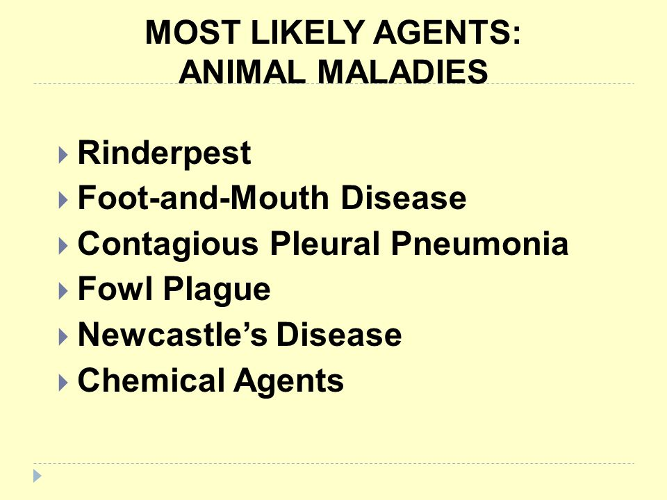 MOST LIKELY AGENTS: ANIMAL MALADIES Rinderpest Foot-and-Mouth Disease Contagious Pleural Pneumonia Fowl Plague Newcastles Disease Chemical Agents