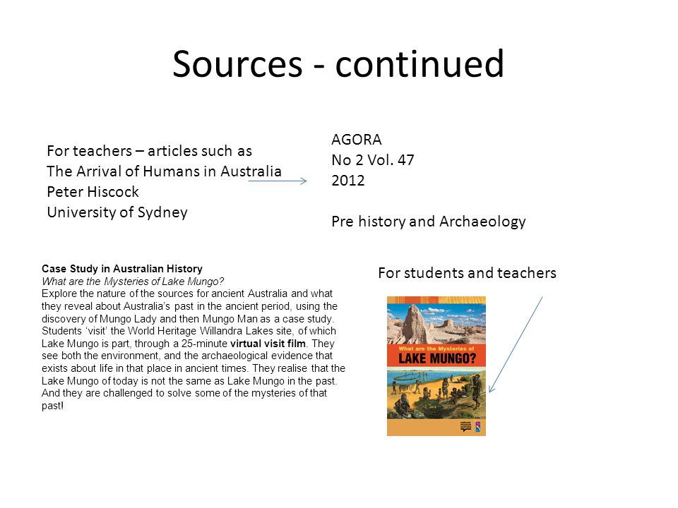 Sources - continued For teachers – articles such as The Arrival of Humans in Australia Peter Hiscock University of Sydney AGORA No 2 Vol. 47 2012 Pre