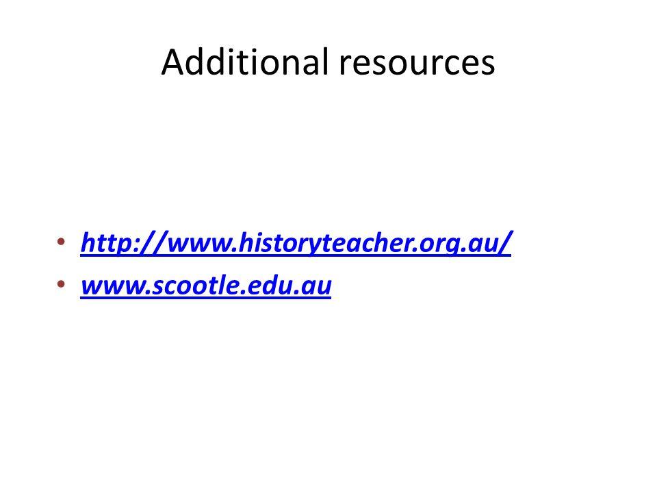 http://www.historyteacher.org.au/ www.scootle.edu.au Additional resources