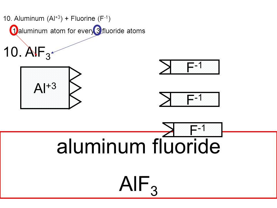 10. Aluminum (Al +3 ) + Fluorine (F -1 ) 1 aluminum atom for every 3 fluoride atoms 10.