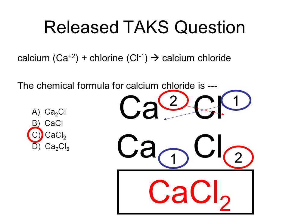 Released TAKS Question calcium (Ca +2 ) + chlorine (Cl -1 ) calcium chloride The chemical formula for calcium chloride is --- A) Ca 2 Cl B) CaCl C) CaCl 2 D) Ca 2 Cl 3 Ca +2 Cl -1 Ca Cl 1 2 12 CaCl 2