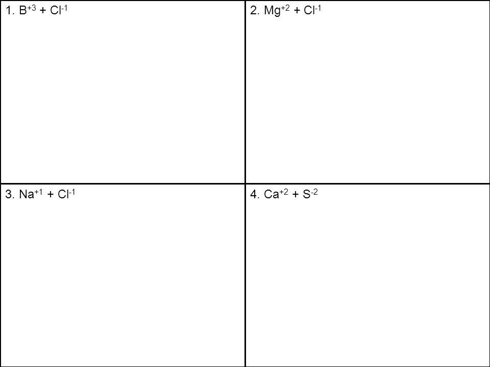 1. B +3 + Cl -1 2. Mg +2 + Cl -1 3. Na +1 + Cl -1 4. Ca +2 + S -2
