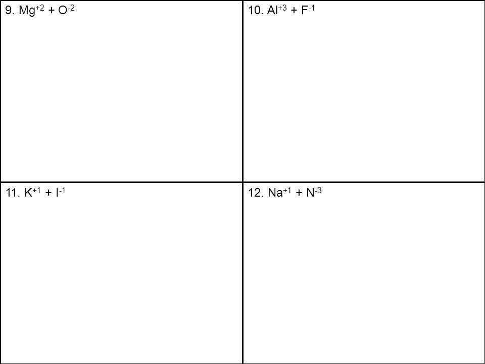 9. Mg +2 + O -2 10. Al +3 + F -1 11. K +1 + I -1 12. Na +1 + N -3