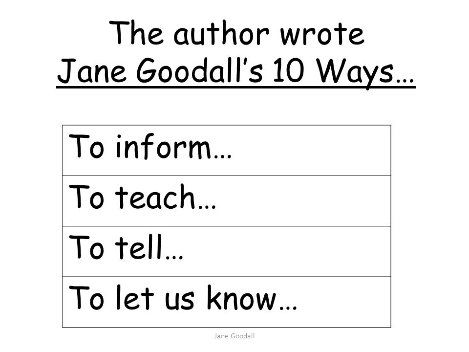 Jane Goodall To inform… To teach… To tell… To let us know… The author wrote Jane Goodalls 10 Ways…