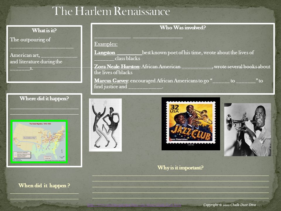 You will be completing a gallery walk of the art and music of the Harlem Renaissance.