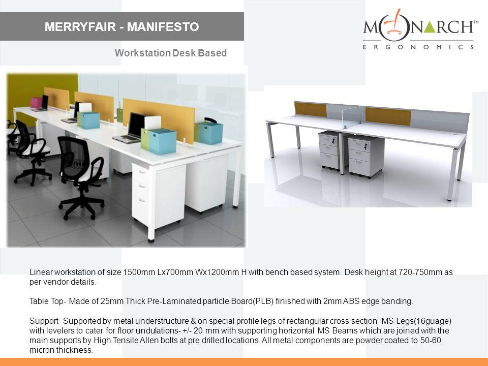 MERRYFAIR - MANIFESTO Linear workstation of size 1500mm Lx700mm Wx1200mm H with bench based system. Desk height at 720-750mm as per vendor details. Ta
