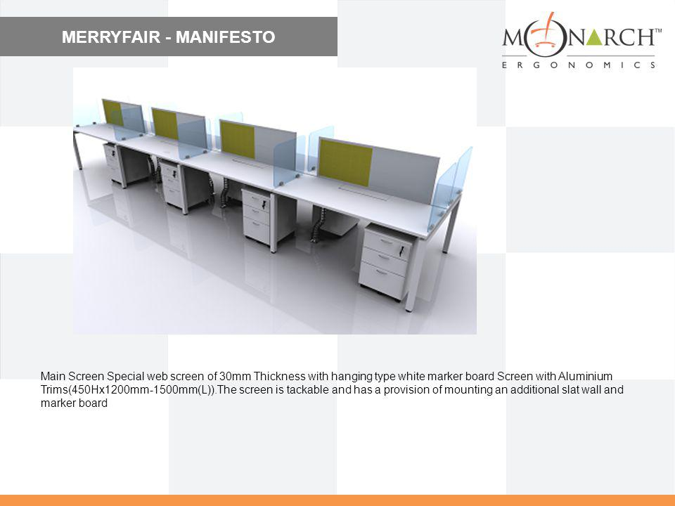 MERRYFAIR - MANIFESTO Main Screen Special web screen of 30mm Thickness with hanging type white marker board Screen with Aluminium Trims(450Hx1200mm-15