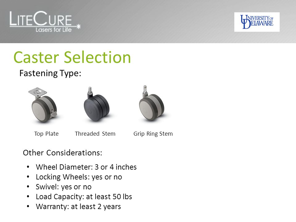 Caster Selection Fastening Type: Top Plate Threaded Stem Grip Ring Stem Other Considerations: Wheel Diameter: 3 or 4 inches Locking Wheels: yes or no Swivel: yes or no Load Capacity: at least 50 lbs Warranty: at least 2 years
