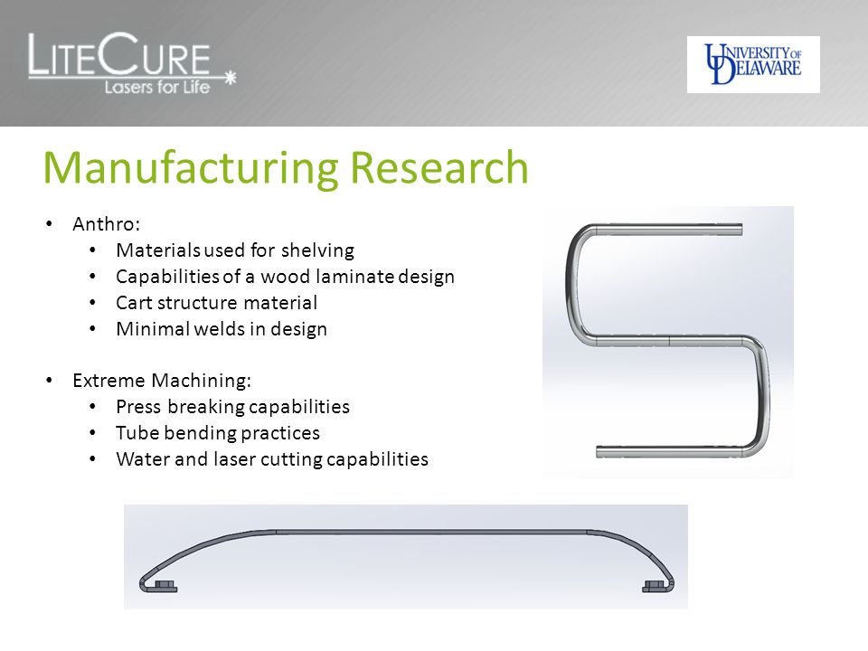 Manufacturing Research Anthro: Materials used for shelving Capabilities of a wood laminate design Cart structure material Minimal welds in design Extreme Machining: Press breaking capabilities Tube bending practices Water and laser cutting capabilities