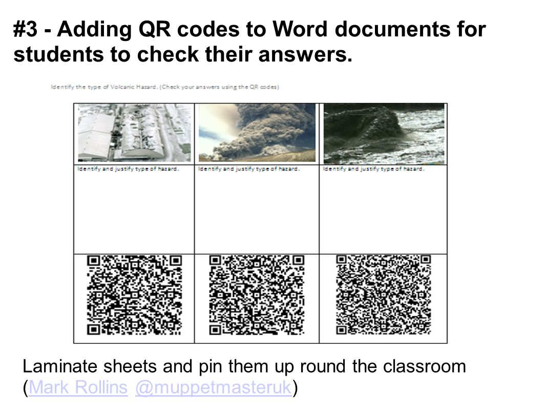 #3 - Adding QR codes to Word documents for students to check their answers.