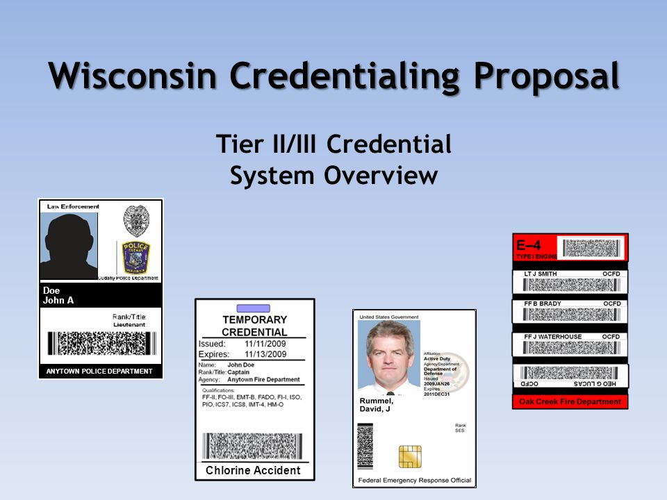 Wisconsin Credentialing Proposal Wisconsin Credentialing Proposal Tier II/III Credential System Overview Doe John A ANYTOWN POLICE DEPARTMENT Chlorine