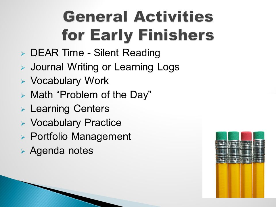 DEAR Time - Silent Reading Journal Writing or Learning Logs Vocabulary Work Math Problem of the Day Learning Centers Vocabulary Practice Portfolio Man