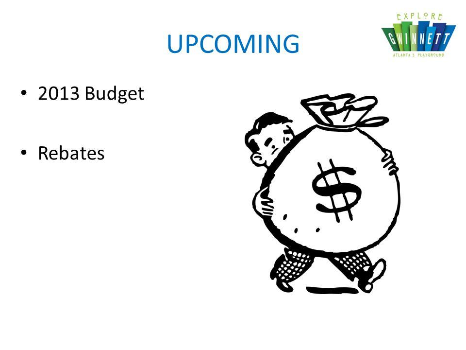 UPCOMING 2013 Budget Rebates