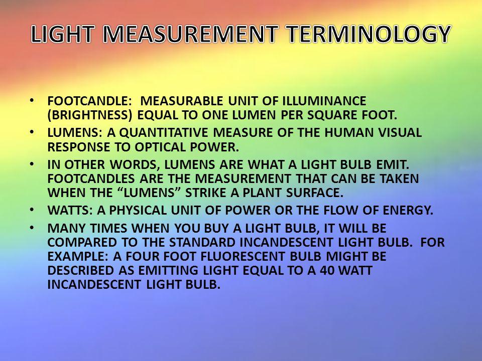 FOOTCANDLE: MEASURABLE UNIT OF ILLUMINANCE (BRIGHTNESS) EQUAL TO ONE LUMEN PER SQUARE FOOT.