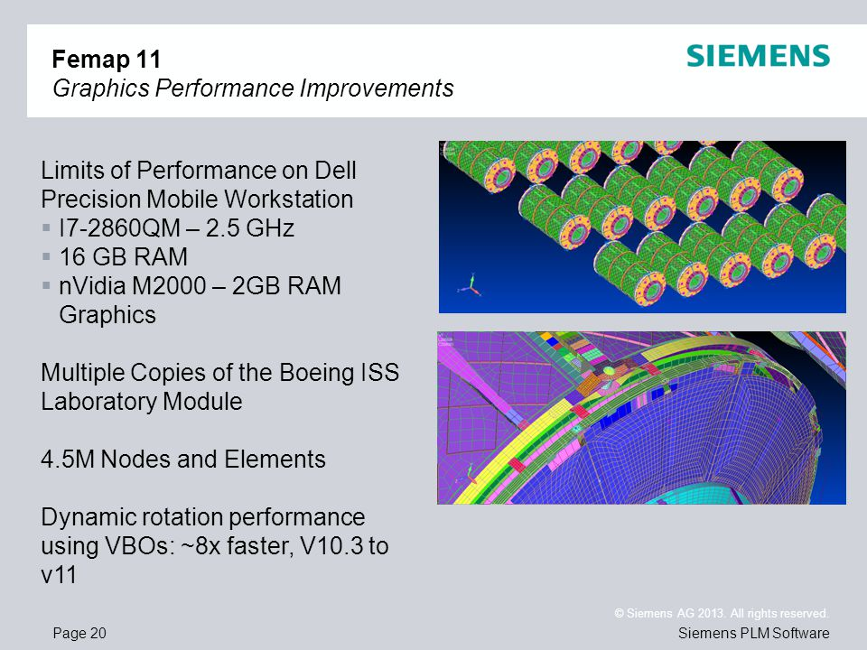 Page 20 © Siemens AG 2013. All rights reserved. Siemens PLM Software Femap 11 Graphics Performance Improvements Limits of Performance on Dell Precisio