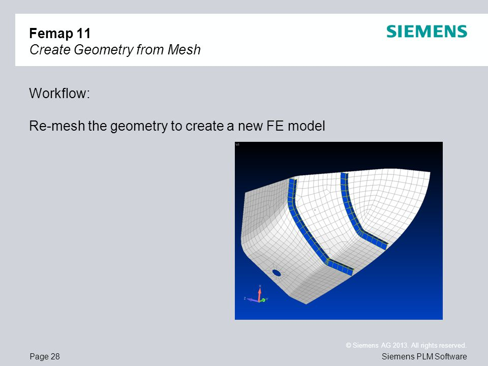 Page 28 © Siemens AG 2013. All rights reserved. Siemens PLM Software Femap 11 Create Geometry from Mesh Workflow: Re-mesh the geometry to create a new